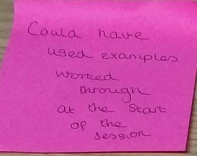 Example of negative student feedback provided on a red sticky note.
