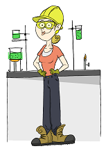 Helen Helmet, standing in front of a lab bench, wearing one of the helments that she's about to test.
